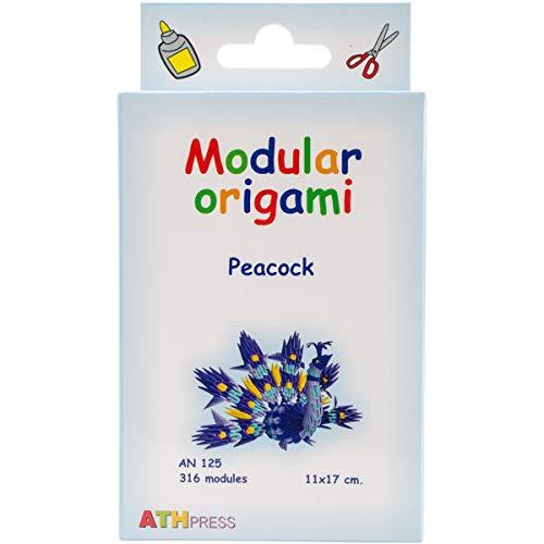 Origami Modular, Juego de 316 Piezas de Papel, Pavo Real pequeño, Multicolor