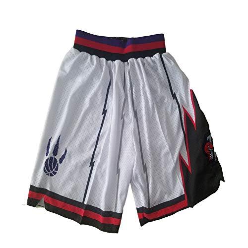 FGRGH Pantalones Cortos de Baloncesto de Rāptórs, Pantalones Cortos de Baloncesto atlético para Hombre Malla de Malla, Blanco Vintage L