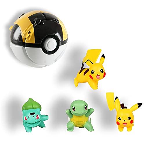 HONGECB Pokémon Ball, Pokemon Throw Pokéball, Pokémon Poké Ball, Pokeball, Poké Ball Mini Figurines, pour Enfants et Adultes Party Celebration Fun Toy Game Gift, 4+1 PCS
