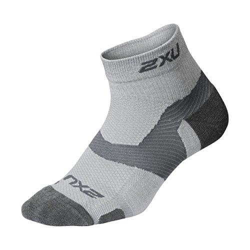 2XU Unisex's Vectr Merino Light Cushion 1/4 Crew Socks, Grey/Grey, Small