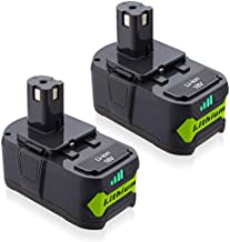 Powerextra 6.0Ah 18V Battery Compatible with Ryobi 18 Volt ONE+ P102 P103 P104 P105 P107 P109 P122 Cordless Power Tools 2 Pack