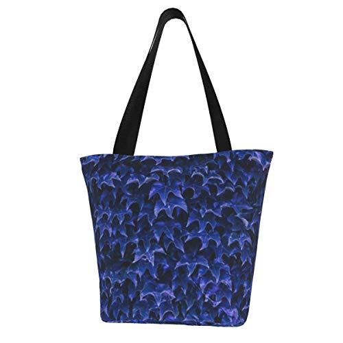 Blue Ivy Leaves Fashion Tote Bag for Women Girls Large Reusable Carry Shoulder Bag