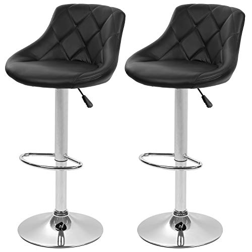 Bar Stools Set of 2 Barstools Swivel Stool Height Adjustable Bar Chairs with Back PU Leather Swivel Bar Stool Kitchen Counter Stools Dining Chairs