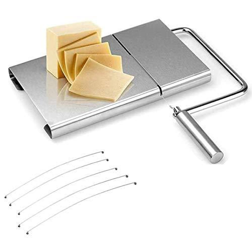 QXYOUNGA - Cortadora de quesos de acero inoxidable moderna, tabla de cortar duradera, con 5 alambres reemplazables para cocina, queso, mantequilla, alimentos