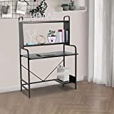 Sophia & William Home Office Computer Lap Desk with Storage Shelves, Ergonomic Large and Tall Executive PC Task Desk for Working Writing Gaming Studying, 39.4' Lx23.6'x59.3'H, Black