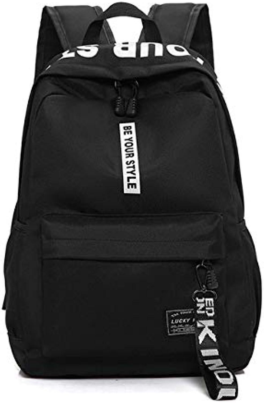 QWKZH Backpacks black Nylon Women School Bags for Teenage Girls Backpack Female Teens Men Schoolbag Casual Style Student bookbag
