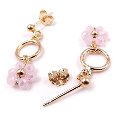 Gioielli Aurum - Pendientes de plata 925 colgantes de mujer con flor perlas cuarzo rosa piedras