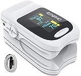 Pulsoximeter, RENPHO Fingerpulsoximeter zur Messung der Sauerstoffsättigung SpO2 im Blut mit OLED-Display und Trageband für Erwachsene und Kinder