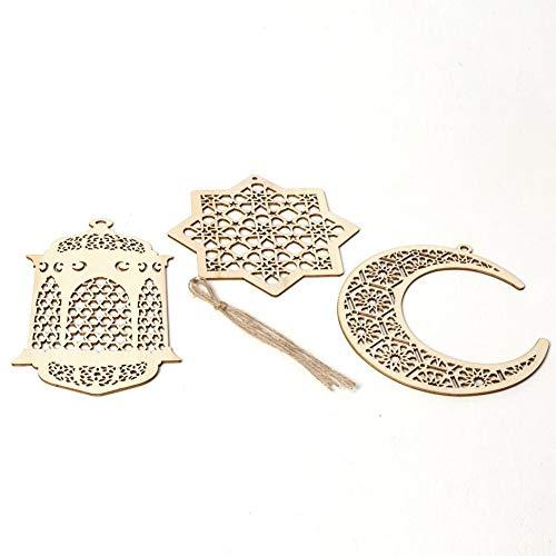 TOMMY LAMBERT Anhänger Islam Eid Ramadan Mubarak Decorations: Wooden Golden Hanging by