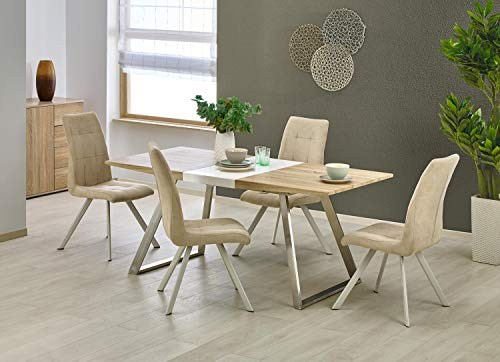 Trevor Scandinavian Rustic Extendable Oak/White Top & Metal Legs Dining Table