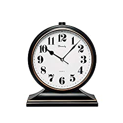 Beesealy Table Clock-Modern Table Clock Silent-Non-Ticking 10-inch dial, Clear and Easy to Read, Used for Living Room, Bedroom Decoration