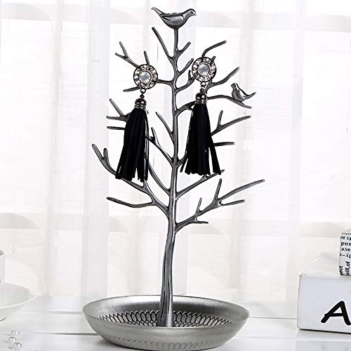 TRAINSTOO Soporte de exhibición tipo gancho de hierro forjado en forma de árbol, para decoración del hogar, soporte para joyas, soporte para joyería