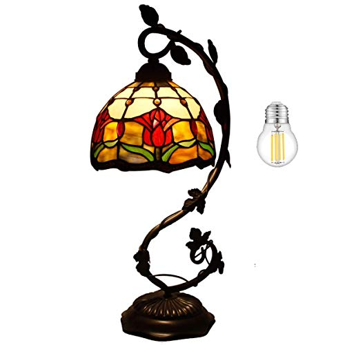 Tiffany Lamp Tulip Flower Stained Glass Style Table Reading Light W8H20 Inch (LED Bulb Included) S030 WERFACTORY LAMPS Parent Lover Kid Friend Living Room Bedroom Coffee Bar Desk Bedside Antique Gifts