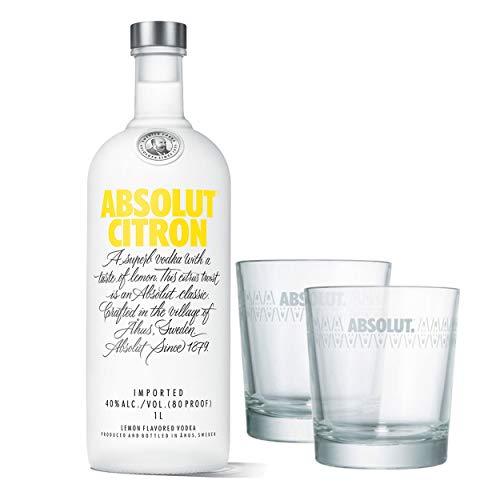 Absolut Vodka Citron Lot de 2 Verres Vodka Schnaps Spiritueux Alcool Alcool Boisson Alcool Bouteille 40% 1 L