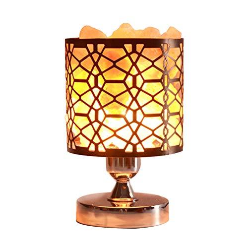 Luminaires & Eclairage/Luminaires intérieur/EC Lampe de sel en Cristal Fer forgé lumière Creuse Himalayan Lampe de sel en Cristal Chambre à Coucher Lampe de Table Lampe de Nuit à LED Lampe de Cham