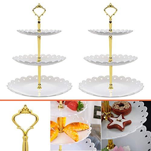 Mioke Soporte para Tartas de 3 Pisos, 2pack Bandeja de Tartas, Plato de Frutos, Cupcake y Torre de Postre para Boda Fiesta Cumpleaños