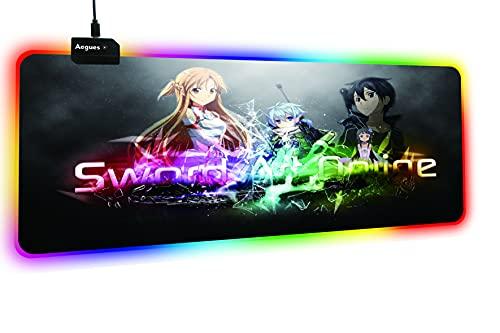 Schwertkunst Online RGB Gaming Große Mauspad Gamer Led Computer Anime Mousepad Mit Hintergrundbeleuchtung Teppich für Tastatur Schreibtisch Matte-40 x 90 cm_Dicke 4MM