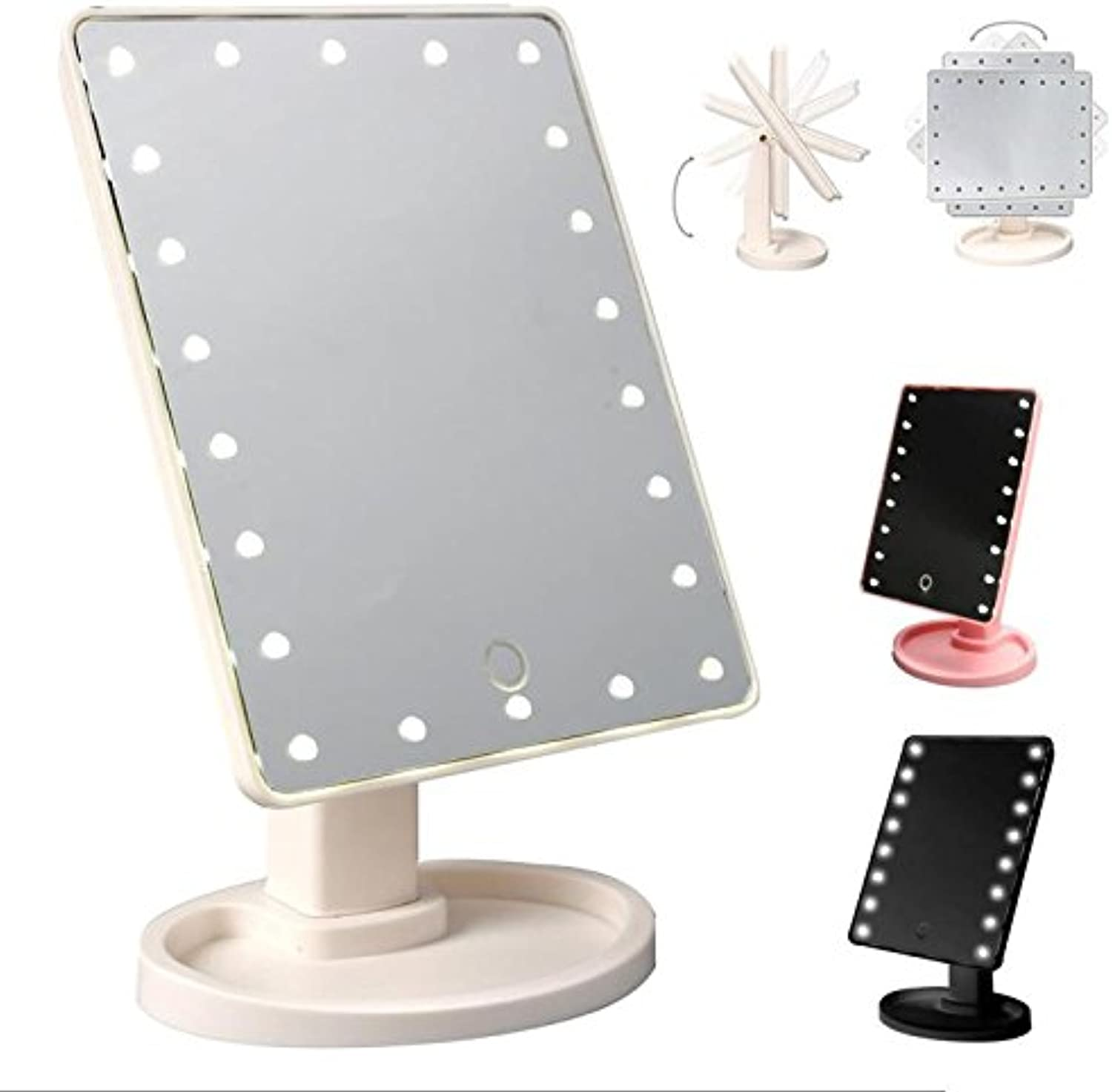 22 LED Touch Screen Makeup Mirror Professional Vanity Mirror Lights Health Beauty Adjustable Countertop 180 redating A5,Pink