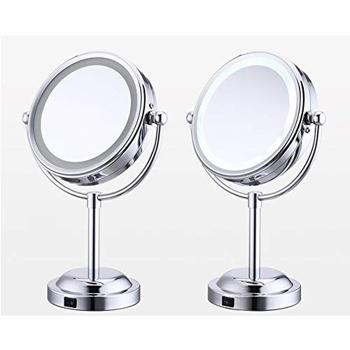 Desktop Cosmetische Spiegel, LED Verlichte Make-Up Spiegel, Make-Up Spiegels Aan Beide Zijden Met Een Normale En 10-Voudige Vergroting,Silver