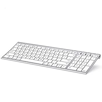 Multi-Device Bluetooth Keyboard for Mac OS Jelly Comb Rechargeable Slim Wireless Keyboard with Number Pad Compatible for MacBook Pro/Air iMac iPhone iPad Pro/Air/Mini -K15G-2- White and Silver