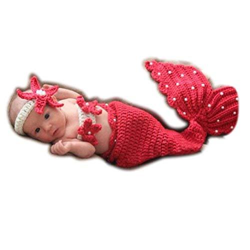 ARAUS Costume a Maglia Moda Neonato Ragazzo della neonata Puntelli Fotografia Attrezzature Cute Sirena 0-4 Mesi