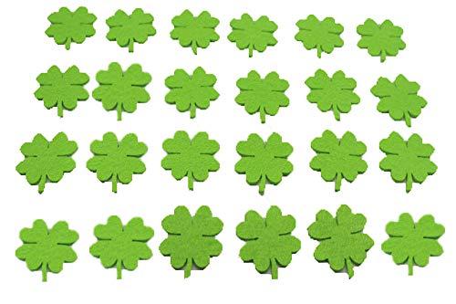 Super Idee 100 Stück kleine grüne vierblättrige Kleeblätter Glücksklee 3,7 cm aus Filz und 100 Stück mini Klebepad als Glückssymbol Ideal zur Hochzeits Geburtstags Silvester Partydeko oder zum Basteln