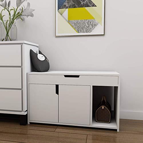 YEEGO Vanimeu - Mueble para zapatero con puerta doble, color blanco
