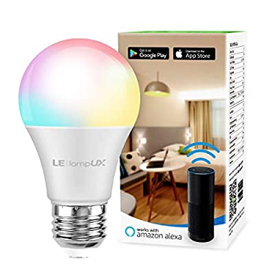 Alexa Smart Light Bulb, RGB Color Changing LED Bulbs, Works with Alexa and Google Home, Dimmable A19 E26 Bulb 60 Watt Equivalent, 2.4GHz WiFi Only, No Hub Required