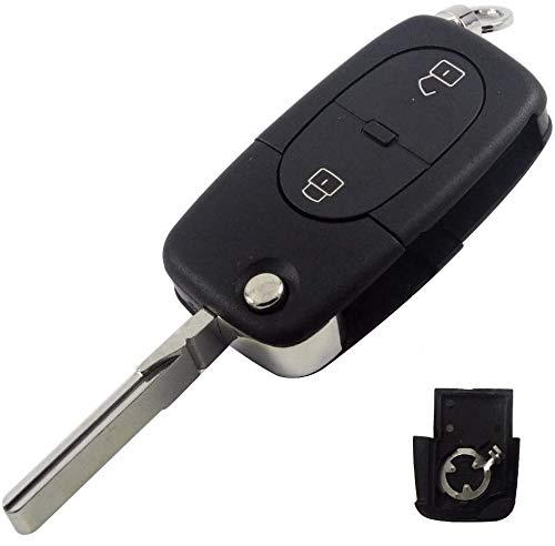 Ersatz Schlüsselgehäuse mit 2 Tasten Autoschlüssel Schlüssel Kompatibel mit Audi Rohling: HU66 / HAA für Batterietyp: CR1620 1616 Fernbedienung Funkschlüssel Gehäuse