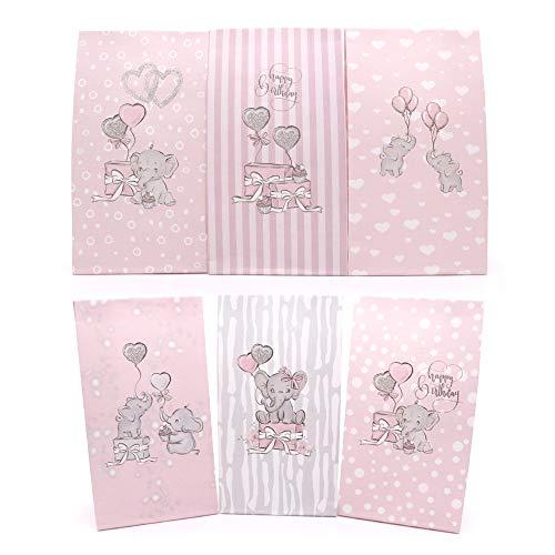Sinoest Adventskalender zum Befüllen Candy-Bar Tüten Papiertüten Süßigkeiten Tüten für Baby Mädchen Shower Kindergeburtstag (Elefant Rosa)