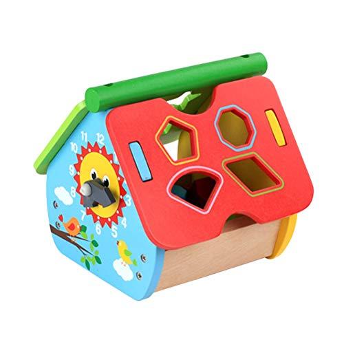Toyvian Baby Sortierbox Kleinkinder Lernspielzeug Holz Haus Baustein Zusammenpassende Blöcke Uhr Kennen Geometrische Spielzeug