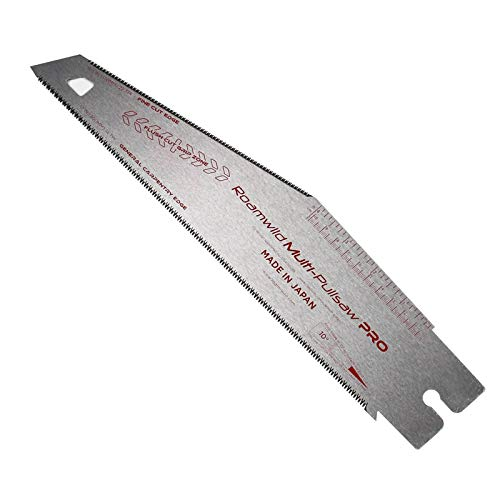 Roamwild Multi Pull Saw PRO Replacement Japanese Blade – 12 inch / 30cm 14 TPI General Carpentry Cutting Edge and Unique Angled 6.5 inch / 17cm 22 TPI Fine Cut Edge Blade – Pack of 1