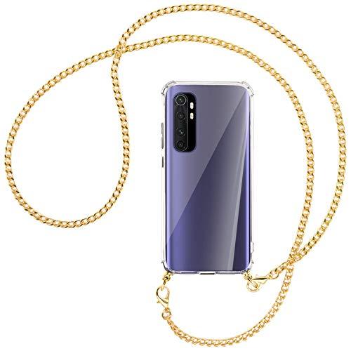 mtb more energy® Collar Smartphone para Xiaomi Mi Note 10 Lite (6.47'') - Cadena de Metal (Oro) - Funda Protectora ponible - Carcasa Anti Shock con Correa para Hombro