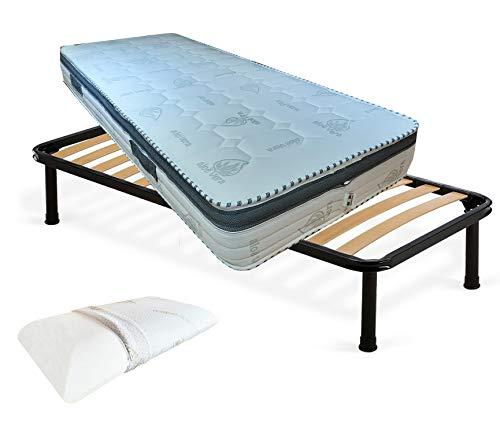 Kit de somier y colchón individual de 80 x 190 x 22 cm, colchón viscoelástico desenfundable, somier ortopédico y almohada de espuma viscoelástica H13 desenfundable aloe vera