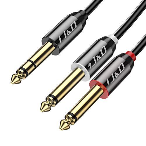 J&D 6.35mm Mono Cable de Audio, Chapado en Oro 2 x 6,35mm (1/4 Pulgada) TS Mono Insertar Cable de Audio con Carcasa de aleación de Zinc y Trenza de Nylon para la mayoría de los Dispositivos