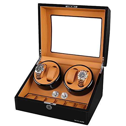 FFAN Caja de Reloj Reloj enrollador de Reloj de Lujo para Relojes automáticos Caja de Reloj de Madera 4 + 6 con Motor silencioso y 4 Modos de rotación, Almohada de Reloj de PU (Color: E), Reloj