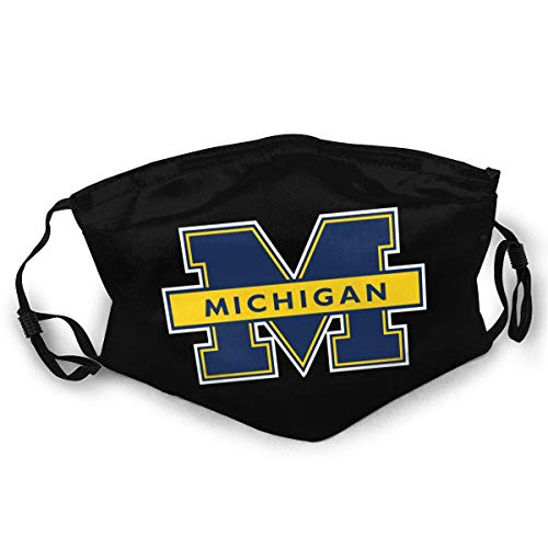 Unisex Face Cover Windproof Anti Dust Warm Protective Washable Reusable Balaclava Adjustable Straps Mouth Cover Michigan University Black