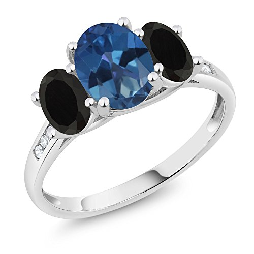 Gem Stone King 10K White Gold Diamond Accent Oval Blue Mystic Topaz Black Onyx 3-Stone Ring 2.08 Ct (Size 8)