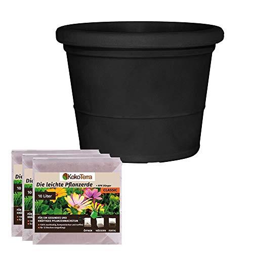 RoTaPlast starterset Zara bloempot 40 cm zwart (pot |aarde)