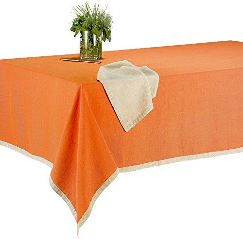 Les Ateliers du Linge - Nappe rectangle Victory - 140x240 cm - 100% lin - Tissu lavable - Couleur unie et bordure contrastante