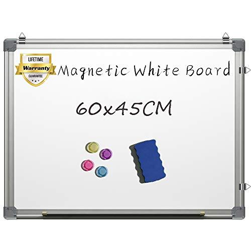 Pizarra blanca magnética de 60 x 45 cm, pizarra blanca para colgar en la pared con 3 rotuladores de borrado en seco, 1 borrador en seco, color plateado 60x45