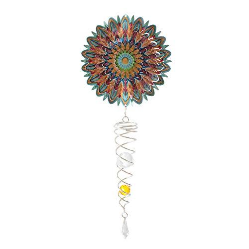 Spinart Mandala Blume Künstler Kristall Schwanz Wind Spinner kinetische Ornament Dekor für den Garten und Haus Dekoration aus Edelstahl und langlebige beschichtete Farbe
