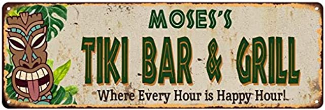 Chico Creek Signs Moses's Tiki BAR & Grill Personalized Metal Sign Decor 8 x 24 Matte Finish Metal 108240040350
