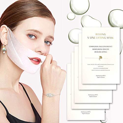 Antialterung V Linie Tuchmaske Facelifting Maske Feuchtigkeitsmaske Straffende Haut Formen Sie die Kinnlinie Doppelkinn Beseitigen Kieferlinie Definition (5 STÜCKE)