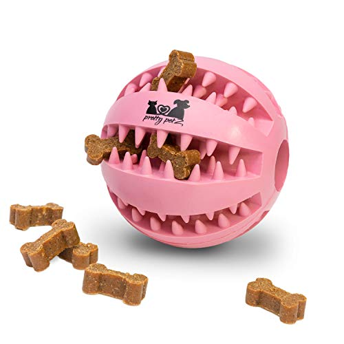 pretty petZ® Hundeball mit Zahnpflege-Funktion Noppen aus Naturkautschuk | Robuster Hunde Ball | Hundespielball für Große & Kleine Hunde | Kauspielzeug aus Naturgummi für Leckerli