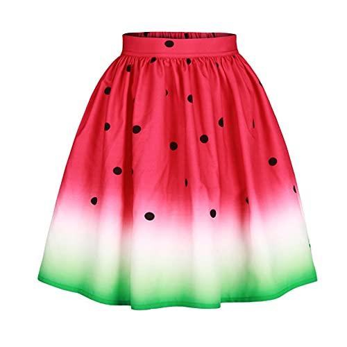 N\P Falda de falda de impresión digital sandía para mujer