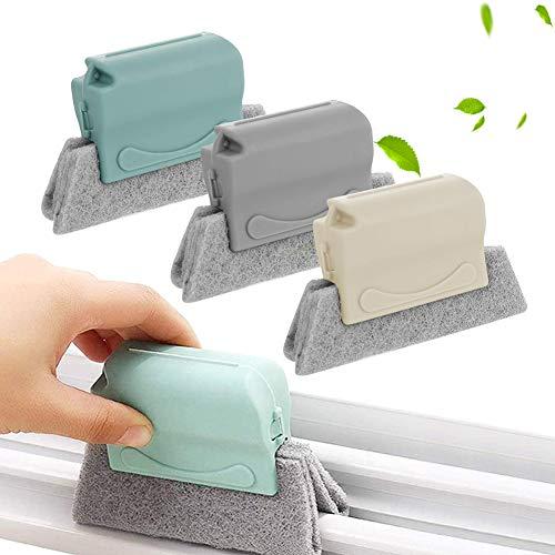 XCOZU Brosses de Nettoyage pour Rainures, 3 Pièces Brosse de nettoyage de Fenêtre avec Tampons, Nettoyage Rapide de Tous les Coins et Espaces, Cuisines, Salle de Bain