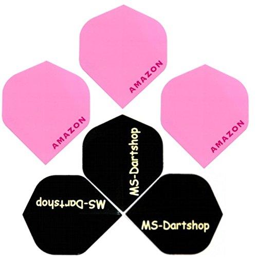 MS-DARTSHOP Dart-Flights Amazon Standard 100 Micron Stark, 3 Satz = 9 Stück, Incl. 1 Satz MS-DARTSHOP Flights (Rosa)