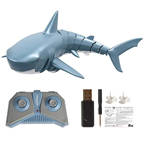 Goolsky Mini RC Tiburón Barco Juguete de Control Remoto Nadar Juguete Bajo el Agua RC Barco Piscina de Juguete de Parodia de Barco de Carreras Eléctricas (con Batería)