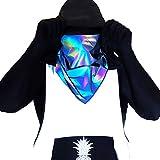 IVIBED Reflective Rave Bandana Rainbow Face – Mask EDM Flash Reactive Clothing Silver